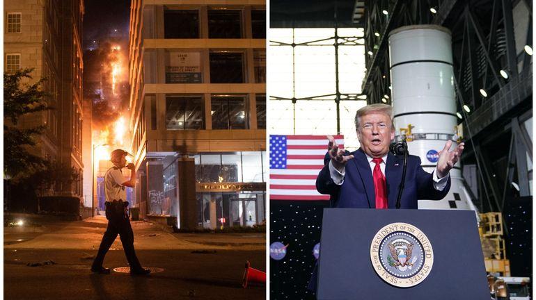 Entre le lancement réussi de SpaceX et un pays secoué par des violences après la mort de George Floyd, étrange journée pour Donald Trump