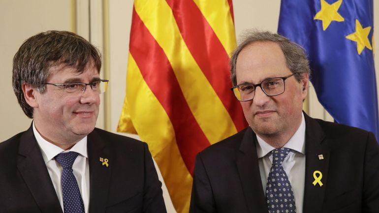 Carles Puigdemont et Quim Torra dénoncent l'interdiction de s'exprimer au Parlement européen